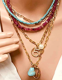 Fashion Gold Natural Agate Stone Multi-layer Necklace