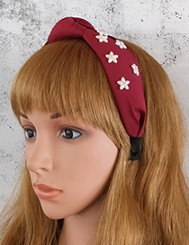 Fashion Pink Cloth And Diamond Resin Flower Knotted Headband