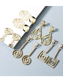Fashion 1 Water Drop Alloy Geometric Spiral Earrings