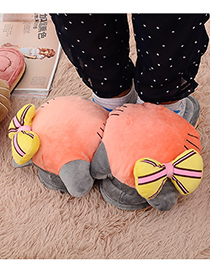 Fashion Tea Green Plush Cartoon Bow Cotton Slippers