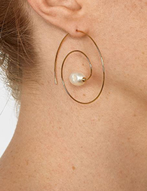 Fashion Red Alloy Pearl Rotating Stud Earrings