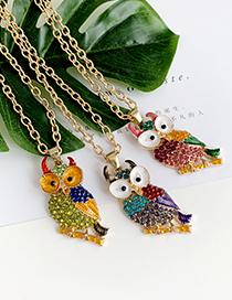 Fashion Lake Green Alloy Diamond Owl Necklace