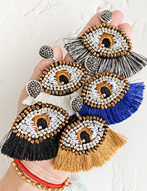 Fashion Black And White Resin Rhinestone Embroidery Eye Tassel Earrings