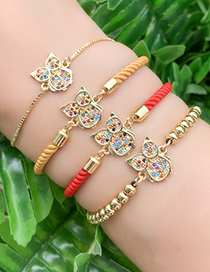Fashion Gold Copper Inlay Zircon Owl Bracelet