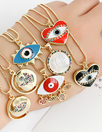 Fashion Black Copper Inlay Zircon Eye Love Necklace