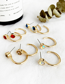 Fashion Ab Color Alloy Round Diamond Earrings