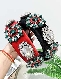 Fashion Red Fabric Rhinestone Geometric Headband