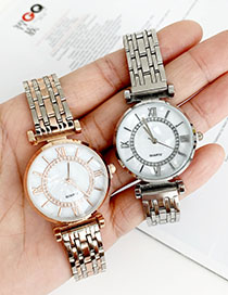 Fashion Rose Gold Alloy Chain Watch
