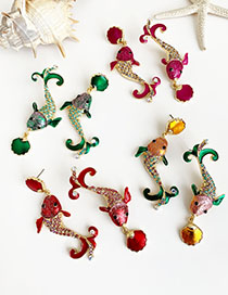 Fashion Red Wine Alloy Studded Squid Shell Asymmetric Earrings