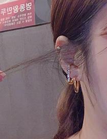 Fashion Silver Diamond-set Half Ring Ear Clip Three-piece