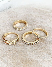Fashion Gold Alloy Diamond Double Row Diamond Ring