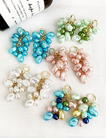 Fashion Color Alloy Pearl Tassel Earrings