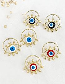 Fashion Red Alloy Round Eye Stud