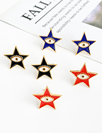 Fashion Black Copper Pentagram Star Earrings
