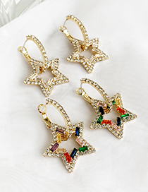 Fashion White Alloy Studded Five-pointed Star Stud