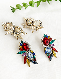 Fashion Color Alloy Studded Irregular Shape Earrings