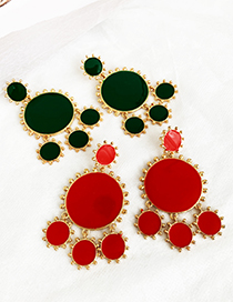 Fashion Green Alloy Drip Oil Round Tassel Earrings