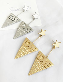 Fashion Silver Alloy Letter Love Triangle Earrings