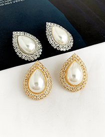 Fashion Golden Alloy Diamond Earrings With Pearl Drops