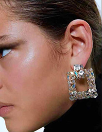 Fashion Red Openwork Stud Earrings With Diamonds
