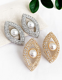 Fashion Golden Alloy Eye Pearl Stud Earrings