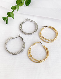 Fashion Golden Alloy Twist Double Circle Earrings
