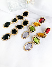 Fashion Color Alloy Resin Geometric Stud Earrings