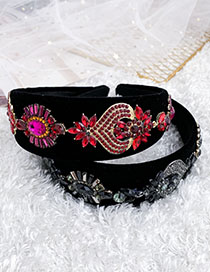 Fashion Red Alloy Flannel Headband With Diamond Geometry