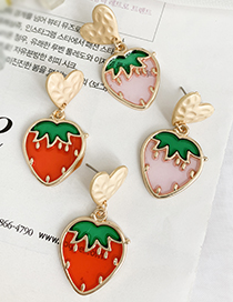 Fashion Pink Alloy Resin Love Strawberry Earrings