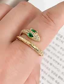 Fashion Golden Cubic Zirconia Snake Ring
