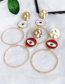 Fashion Red Alloy Dripping Eye Regular Face Circle Stud Earrings