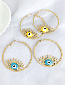 Fashion Blue Alloy Resin Eye Studs