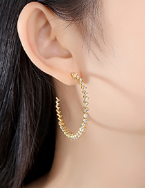 Fashion Gold Color Zirconium Copper Studded C-shaped Stud Earrings