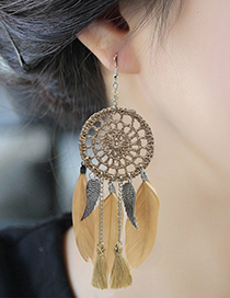 Fashion Red Feather Decorated Wing Shape Earrings