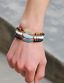 Fashion Black+blue Wing Shape Decorated Beads Bracelet