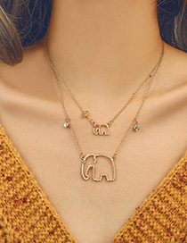 Simple Gold Color Elephant Shape Decorated Necklace