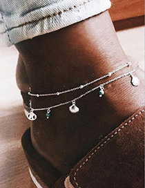 Fashion Silver Color Shell Shape Decorated Anklet