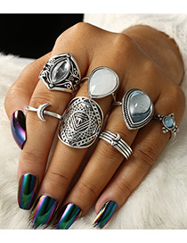 Fashion Silver Color Water Drop Shape Gemstone Decorated Ring(7pcs)