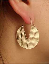 Fashion Gold Color Pure Color Design Simple Earrings