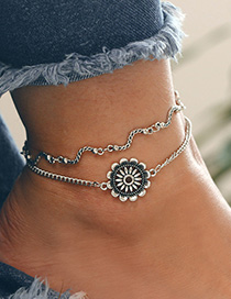 Fashion Silver Color Flower Decorated Double Layer Anklet