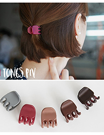 Fashion Gray Pure Color Decorated Hair Claw