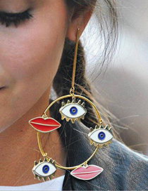 Fashion Red Eye Shape Decorated Round Earrings