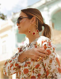 Fashion Red Alloy Circle Three Round Earrings
