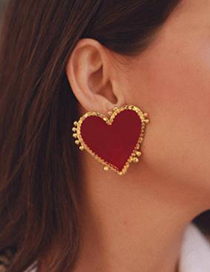 Fashion Red Alloy Love Earrings