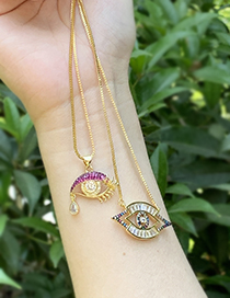 Fashion Gold Copper Inlaid Zircon Pierced Eye Necklace