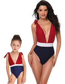 Fashion Children's Stitching Swimsuit Deep V High Fork Color Matching Parent-child One-piece Swimsuit