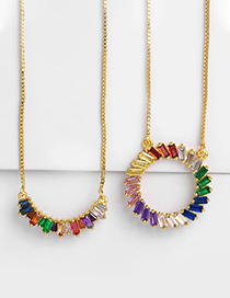 Fashion Full Circle Geometric Zircon Necklace