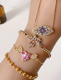 Fashion Gold Copper Inlaid Zircon Beaded Leaf Bracelet