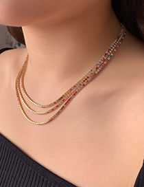 Fashion Gold Copper Inlaid Zircon Necklace (1PIECE)