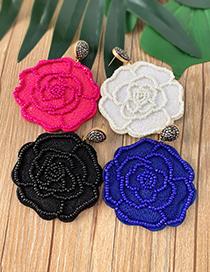 Fashion Green Felt Cloth Rice Beads Flower Earrings